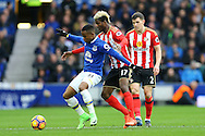Ademola Lookman of Everton shields the ball from Didier Ndong of Sunderland. Premier league match, Everton v Sunderland at Goodison Park in Liverpool, Merseyside on Saturday 25th February 2017.<br /> pic by Chris Stading, Andrew Orchard sports photography.