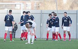 Falkirk's Thomas Grant (7) cele scoring their first goal..half time : Dumbarton v Falkirk, 23/2/2013..©Michael Schofield.