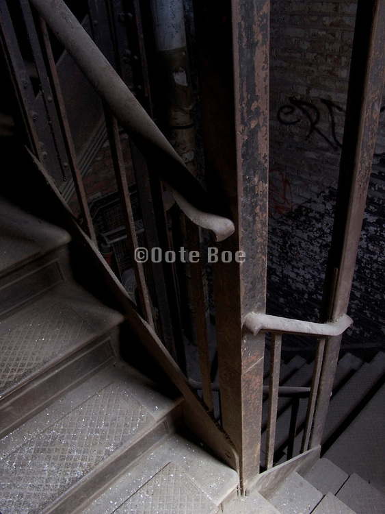 looking down in stairwell of an old building