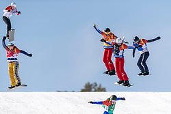 PYEONGCHANG, SOUTH KOREA - FEBRUARY 16:  Michela Moioli #2 of Italy, Julia Pereira de Sousa Marileau #15 of France, Chloe Trespeuch #6 of the United States, Lindsey Jacobellis #4 of the United States, Alexandra Jekova #9 of Bulgaria during the Ladies' Snowboard Cross on day seven of the PyeongChang 2018 Winter Olympic Games at Phoenix Snow Park on February 16, 2018 in Pyeongchang-gun, South Korea. Photo by Ronald Hoogendoorn / Sportida