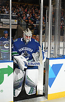 KELOWNA, BC - SEPTEMBER 29:  Jacob Markstrom #25 of the Vancouver Canucks enters the ice against the Arizona Coyotes at Prospera Place on September 29, 2018 in Kelowna, Canada. (Photo by Marissa Baecker/NHLI via Getty Images)  *** Local Caption *** Jacob Markstrom