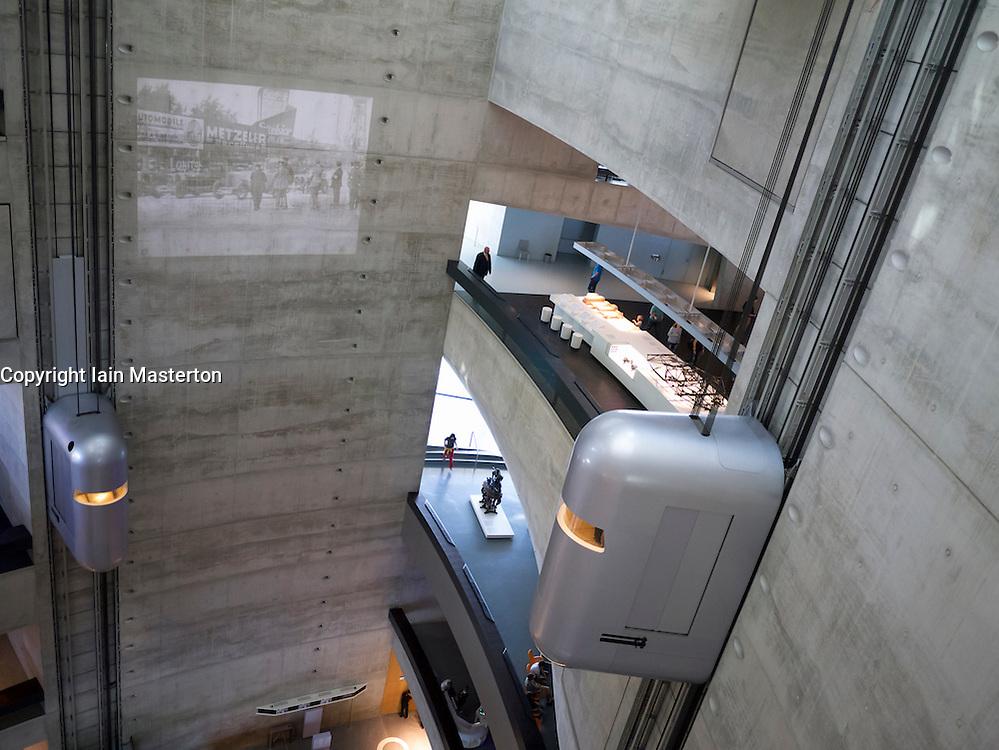 Atrium with elevators inside Mercedes Benz Museum in Stuttgart Germany