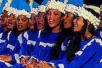 Tamarii Mataeia choir performing during the Heiva i Tahiti (July cultural festival), Place Toata, Papeete, Tahiti, French Polynesia.