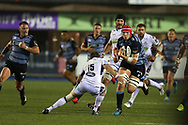 Seb Davies of Cardiff Blues runs at Ruaridh Jackson of Glasgow Warriors (15) . Guinness Pro14 rugby match, Cardiff Blues v Glasgow Warriors Rugby at the Cardiff Arms Park in Cardiff, South Wales on Saturday 16th September 2017.<br /> pic by Andrew Orchard, Andrew Orchard sports photography.