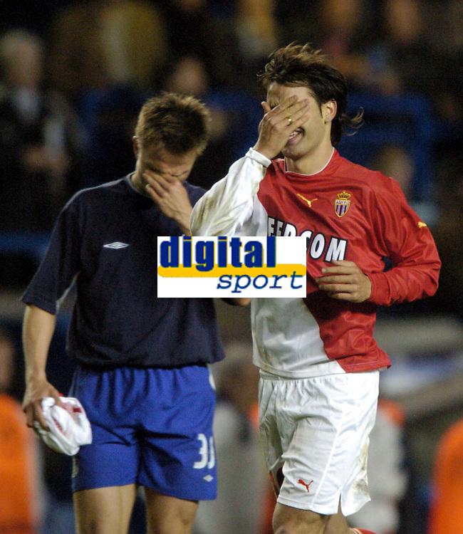 Photo: Richard Lane, Digitalsport<br /> NORWAY ONLY<br /> <br /> Chelsea v AS Monaco. UEFA Chapions League Semi Final. 05/05/2004.<br /> Tears of joy and pain, Ferando Morientes crys with joy as Jesper Grønkjær crys with pain.