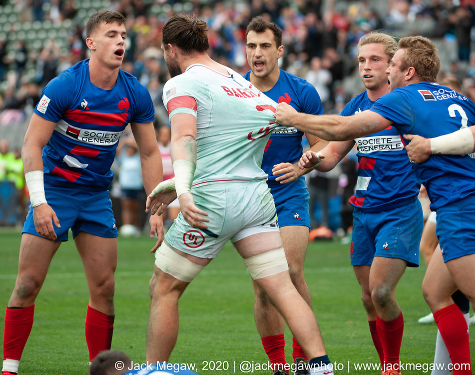 M38 - The United States play France in the 5th Place Semi Final of the 2020 Los Angeles Sevens at Dignity Sports Health Park in Los Angeles, California. March 1, 2019. <br /> <br /> © Jack Megaw, 2020