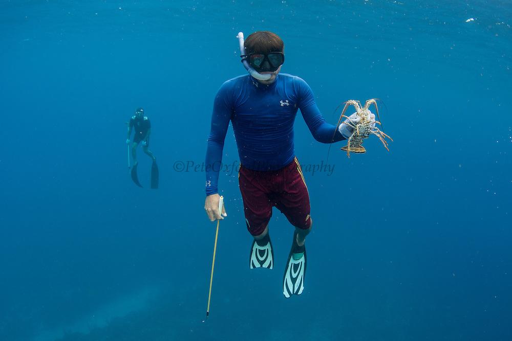 Lobster fisher<br /> Caye Caulker<br /> Ambergris Caye<br /> Belize<br /> Central America