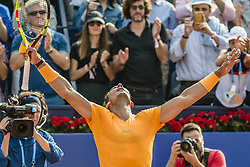 April 28, 2018 - Barcelona, Catalonia, Spain - RAFAEL NADAL (ESP) celebrates his victory against David Goffin (BEL) in their semi-final of the 'Barcelona Open Banc Sabadell' 2018. Nadal won 6:4, 6:0 (Credit Image: © Matthias Oesterle via ZUMA Wire)