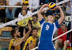 Sergey Grankin of Dinamo at 1st Semifinal match of CEV Indesit Champions League FINAL FOUR tournament between PGE Skra Belchatow, Poland and Dinamo Moscow, Russia, on May 1, 2010, at Arena Atlas, Lodz, Poland. (Photo by Vid Ponikvar / Sportida)