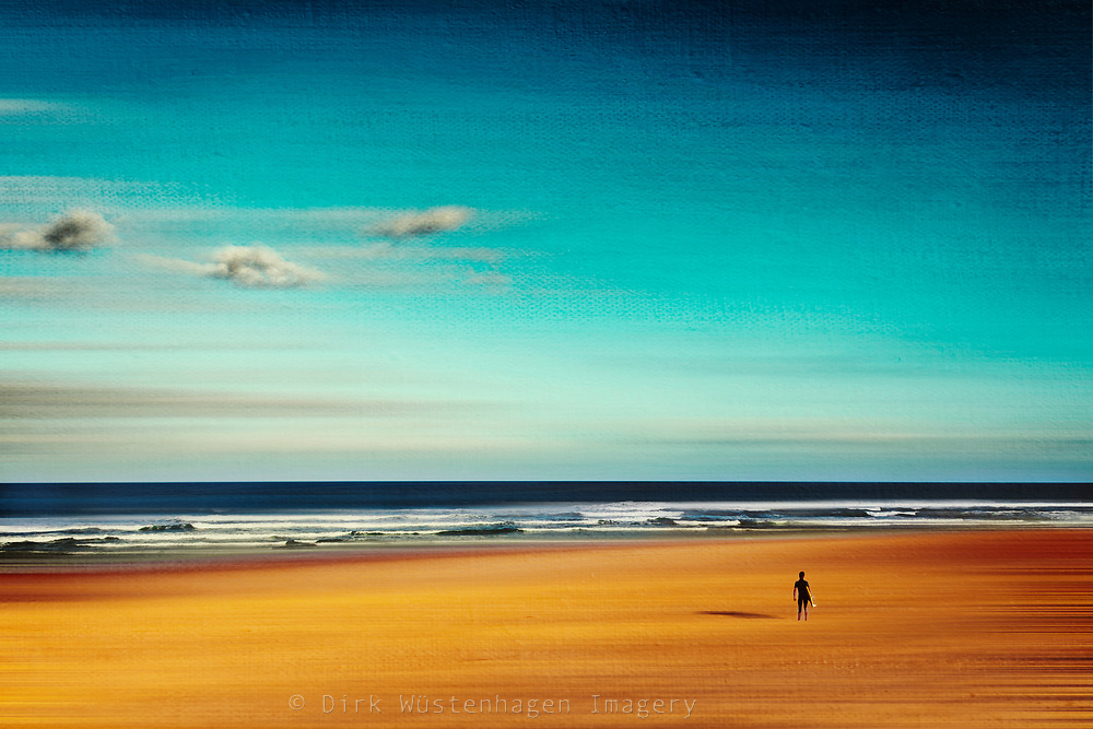 Surfer on the beach of Contis-Plage, France, checking the surf. Photograph edited with texture overlays