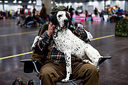 "Pertti Vainikainen from Finland with his junior class dog ""Stonemeadow's Bonbon"" (Braque d'Auvergne) in a break during the ring competition at the Leipzig Trade Fair. Over 31,000 dogs from 73 nations will come together from 8-12 November 2017 in Leipzig for the biggest dog show in the world."