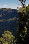 Tourists on viewpoint Echo Point Blue Mountains National Park, Katoomba, Australia.