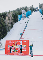 16.02.2020, Kulm, Bad Mitterndorf, AUT, FIS Ski Flug Weltcup, Kulm, Herren, Siegerehrung, im Bild 2. Platz Ryoyu Kobayashi (JPN), Sieger Stefan Kraft (AUT), 3. Platz Timi Zajc (SLO) // 2nd placed Ryoyu Kobayashi of Japan Winner Stefan Kraft of Austria 3rd placed Timi Zajc of Slovenia during the winner ceremony for the men's FIS Ski Flying World Cup at the Kulm in Bad Mitterndorf, Austria on 2020/02/16. EXPA Pictures © 2020, PhotoCredit: EXPA/ JFK