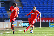 Nottingham Forest's Lewis Grabban (7) with team-mate Sammy Ameobi (11) during the EFL Sky Bet Championship match between Cardiff City and Nottingham Forest at the Cardiff City Stadium, Cardiff, Wales on 2 April 2021.
