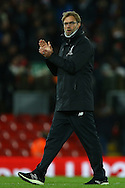Liverpool Manager Jurgen Klopp applauds the fans after the game. Premier League match, Liverpool v West Ham Utd at the Anfield stadium in Liverpool, Merseyside on Sunday 11th December 2016.<br /> pic by Chris Stading, Andrew Orchard sports photography.