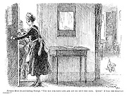 "Nervous maid (to eveil-looking tramp). ""You run for your life and let me shut the door. Quick! I 'ear the alsatian coming!"""