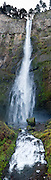 Multnomah Falls upper tier plunges 542 feet in Columbia River Gorge National Scenic Area, on Historic Columbia River Highway and Interstate 84, Oregon, USA. Panorama stitched from 4 images.