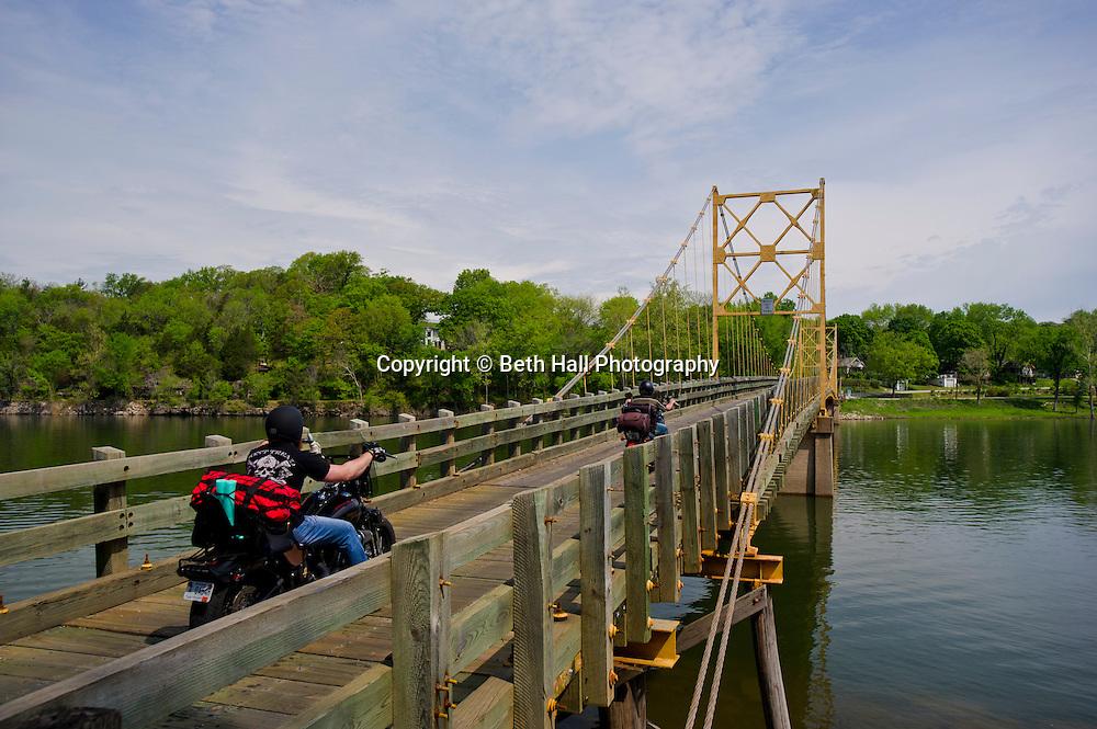 Stock photography of the Little Golden Gate Bridge in Beaver, Arkansas ouside of in Eureka Springs.