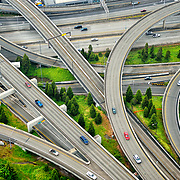 Interstate highway interchange between I-5 and I-90 in Seattle, WA USA