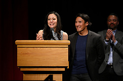 """Elizabeth Chai Vasarhelyi, Jimmy Chin and Evan Hayes of the Oscar® nominated documentary feature """"Free Solo"""" during the Academy of Motion Picture Arts and Sciences' """"Oscar Week: Documentaries"""" event on Tuesday, February 19, 2019 at the Samuel Goldwyn Theater in Beverly Hills. The Oscars® will be presented on Sunday, February 24, 2019, at the Dolby Theatre® in Hollywood, CA and televised live by the ABC Television Network."""