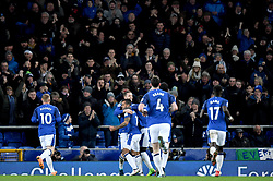 Everton's Theo Walcott celebrates scoring his side's first goal of the game