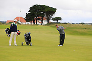 Neil Manchip and Jack Hume on the 2nd fairway with the GUI National panel players who are taking part in the Walker cup next week practicing with Neil Manchip and Tony Goode at Portmarnock on Wednesday 2nd September 2015.<br /> Picture:  Thos Caffrey / www.golffile.ie