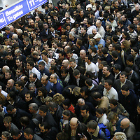 Crowd of passengers try to reach their plane during the strike of airport personnel at Ferihegy Budapest Airport.