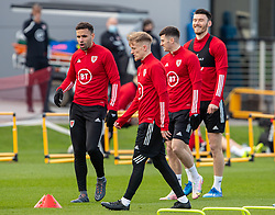 CARDIFF, WALES - Tuesday, March 23, 2021: Wales' Hal Robson-Kanu, Matthew Smith and Kieffer Moore during a training session at the Vale Resort ahead of the FIFA World Cup Qatar 2022 Qualifying game against Belgium. (Pic by David Rawcliffe/Propaganda)