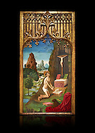 Gothic Catalan Alterpiece of Sant Jeroni Penetant by Mestre de la Seu d'Urgell, circa 1495, tempera and gold leaf on wood, from the church of Santa Maria de Puigcerda, Baixa Cerdanya, Spain.  National Museum of Catalan Art, Barcelona, Spain, inv no: MNAC  15821. Against a black background. . .<br /> <br /> If you prefer you can also buy from our ALAMY PHOTO LIBRARY  Collection visit : https://www.alamy.com/portfolio/paul-williams-funkystock/gothic-art-antiquities.html  Type -     MANAC    - into the LOWER SEARCH WITHIN GALLERY box. Refine search by adding background colour, place, museum etc<br /> <br /> Visit our MEDIEVAL GOTHIC ART PHOTO COLLECTIONS for more   photos  to download or buy as prints https://funkystock.photoshelter.com/gallery-collection/Medieval-Gothic-Art-Antiquities-Historic-Sites-Pictures-Images-of/C0000gZ8POl_DCqE