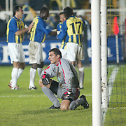 Japan Out!<br /> Turkish Soccer...<br /> Super League derby match Fenerbahce between Galatasaray. Double for Akin<br /> Akin Serhat hit a quick-fire double on 69 and 75 minutes, before Eris Ceyhun made it four with eleven minutes to play. The final goal of the night came from ‹mit ÷zat thre minutes from time, just after Galatasaray were reduced to ten men themselves with Emre Asik's dismissal. <br /> Fenerbahce's Serhat Akin with players and Galatasaray goal keeper Mondragon(N) during their after the goal in Sukru Saracoglu Stadium Kadikoy Istanbul at Turkey.<br /> Photo by Aykut AKICI/TurkSporFoto