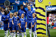 Chelsea Defender John Terry (26) waves to family before kick off during the Premier League match between Chelsea and Sunderland at Stamford Bridge, London, England on 21 May 2017. Photo by Andy Walter.