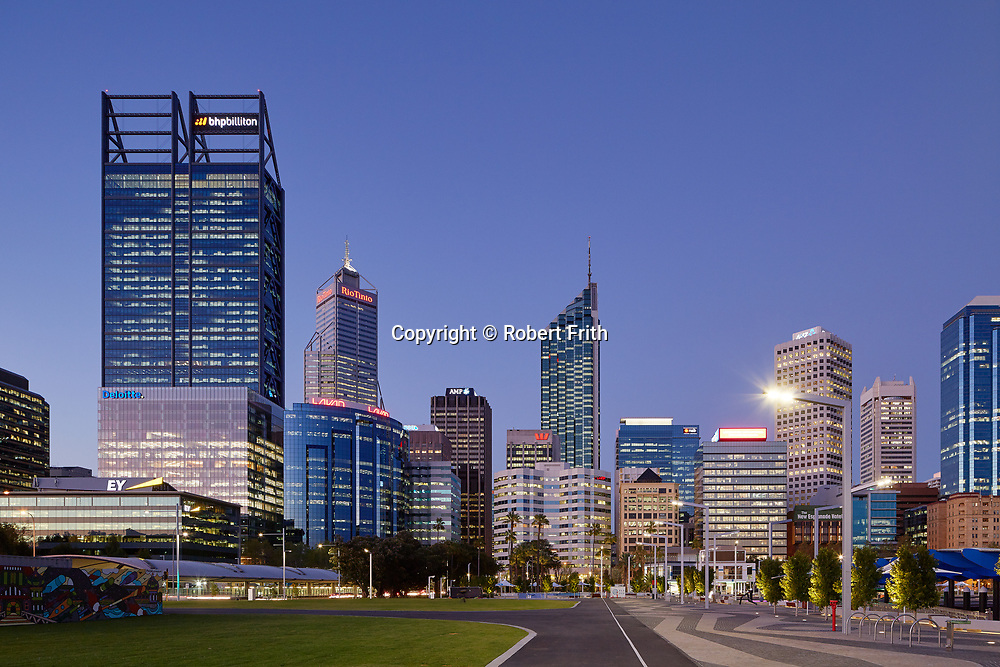 Perth CBD by night; BHP Billiton, Deloitte, Lavan, AMP, Westpac,ANZ,Ernst and Young Perth Region
