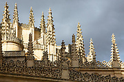 Traditional architecture detail of the Gothic-style Roman Catholic Cathedral of Segovia, Spain