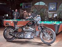 Jack Daniels custom motorcycle by Kreater Custom Motorcycles - photographed inside Rose's Pub on Water Street, in Kelowna, B.C. in May 2008