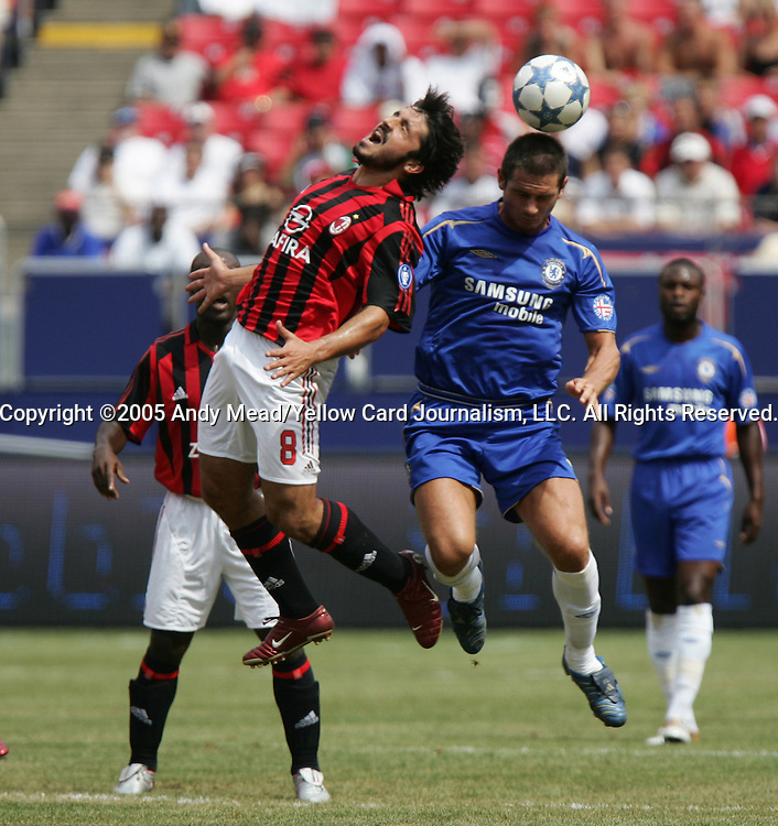 31 July 2005: Frank Lampard (r) beats Gennaro Gattuso (8) to a header. Chelsea FC of England and AC Milan of Spain tied 1-1 at Giants Stadium in East Rutherford, New Jersey in an international friendly soccer match as part of AEG's 2005 World Series of Football. .