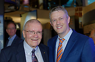 Garden City, New York, U.S. June 6, 2019. L-R, Apollo 13 astronaut FRED HAISE and Cradle of Aviation Museum Board of Directors member TODD RICHMAN pose for photo during Apollo at 50 Anniversary Dinner, an Apollo astronaut tribute celebrating the Apollo 11 mission Moon landing.