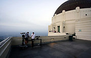 Tourists at Griffith Observatory Lookout on a Cloudy Day
