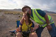 Georgie feliciteert Ellen van Vugt met haar persoonlijk record op de vijfde racedag van de WHPSC. In de buurt van Battle Mountain, Nevada, strijden van 10 tot en met 15 september 2012 verschillende teams om het wereldrecord fietsen tijdens de World Human Powered Speed Challenge. Het huidige record is 133 km/h.<br /> <br /> Georgie congratulates Ellen van Vugt with her personal record. he fifth day of the WHPSC. Near Battle Mountain, Nevada, several teams are trying to set a new world record cycling at the World Human Powered Vehicle Speed Challenge from Sept. 10th till Sept. 15th. The current record is 133 km/h.