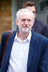 © Licensed to London News Pictures. 14/09/2015. London, UK. Labour Party leader Jeremy Corbyn leaving his house in Islington, north London on Monday, 14 September 2015. Photo credit: Tolga Akmen/LNP