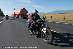 Claudia Ganzaroli riding her 1928 Moto Frera during Stage 14 - (284 miles) of the Motorcycle Cannonball Cross-Country Endurance Run, which on this day ran from Meridian to Lewiston, Idaho, USA. Friday, September 19, 2014.  Photography ©2014 Michael Lichter.