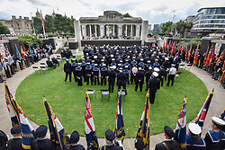 © Licensed to London News Pictures. 03/09/2017. London, UK. Serving and retired members of the merchant navy attend the annual service held in Trinity Square Gardens near Tower Hill to recognise Merchant Navy Day in memory of merchant seafarers who died in the two World Wars and in conflicts up to the present day. Photo credit : Stephen Chung/LNP