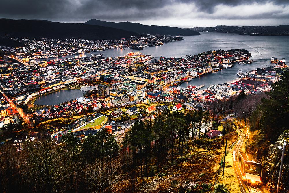 Moody sunrise from mt. Fløien over Bergen, Norway