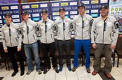 Peter Dokl,  Janez Maric,  Klemen Bauer, Jakov Fak, Vasja Rupnik and Uros Velepec at press conference of Slovenia Biathlon team before new season 2010 - 2011, on November 24, 2010, in Emporium, BTC, Ljubljana, Slovenia.  (Photo by Vid Ponikvar / Sportida)