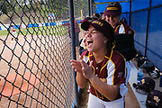 Simi Valley's Jazmin Karunungan laughs in the dugout with teammates during a game at Westlake High School on Feb. 27, 2019.