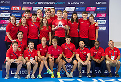 Great Britain team members celebrate winning the diving best team during day eleven of the 2018 European Championships at the Royal Commonwealth Pool, Edinburgh.