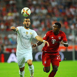 05.08.2015, Allianz Arena, Muenchen, GER, AUDI CUP, FC Bayern Muenchen vs Real Madrid, im Bild vl Jese (Real Madrid) gegen David Alaba (FC Bayern Muenchen) // during the 2015 Audi Cup Match between FC Bayern Munich and Real Madrid at the Allianz Arena in Muenchen, Germany on 2015/08/05. EXPA Pictures © 2015, PhotoCredit: EXPA/ Eibner-Pressefoto/ Stuetzle<br /> <br /> *****ATTENTION - OUT of GER*****