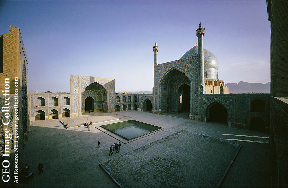 Exterior view of the Masjid-I-Shah Mosque in Isfahan.