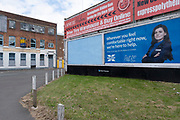 Advertising for the Halifax in Deritend area near the city centre on 3rd August 2020 in Birmingham, United Kingdom. Halifax is a British banking brand operating as a trading division of Bank of Scotland. It is named after the town of Halifax.