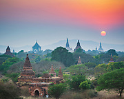 Sun going down behind the temples of Bagan.