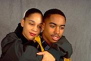 Romantic African American couple age 19 embracing.  St Paul Minnesota USA